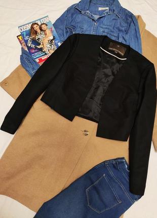 Пиджак жакет чёрный укорочен на подкладке шёлк хлопок fenn wright manson