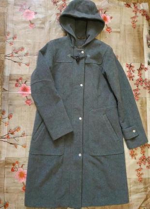 Пальто оверсайз шерсть ангора с капюшоном
