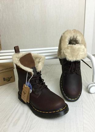 Оригинальные зимние ботинки dr. martens 1460 dark brown+mustang kolbert