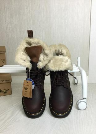 Оригинальные зимние ботинки dr. martens 1460 dark brown+mustang kolbert скидка!2 фото