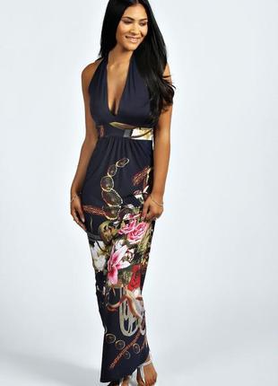 Платье длинное макси в пол синее черное в цветочный принт новое с биркой boohoo