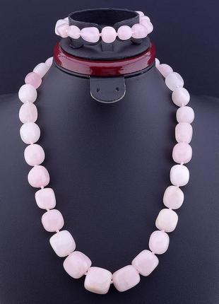 Бусы+браслет натуральный камень розовый кварц 50 см. 0832810
