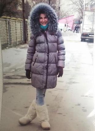 Теплый  зимний натуральный пуховик1