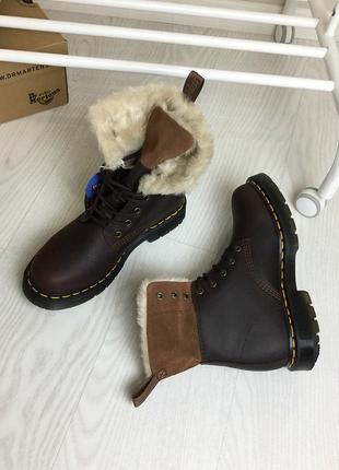 Оригинальные зимние ботинки dr. martens 1460 dark brown+mustang kolbert скидка!4 фото