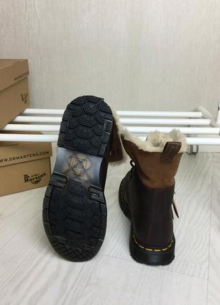 Оригинальные зимние ботинки dr. martens 1460 dark brown+mustang kolbert скидка!6 фото