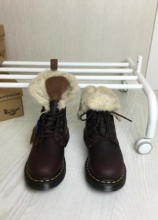 Оригинальные зимние ботинки dr. martens 1460 dark brown+mustang kolbert скидка!3 фото