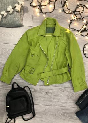 Ferenze vera pelle италия кожаная салатовая куртка косуха кожанка женская зеленая