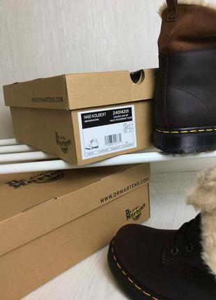 Оригинальные зимние ботинки dr. martens 1460 dark brown+mustang kolbert скидка!7 фото