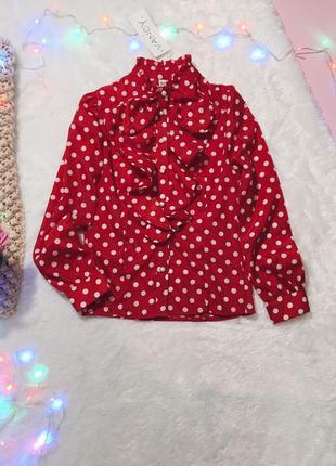Красная блуза(блузка/рубашка) в горох с рюшами