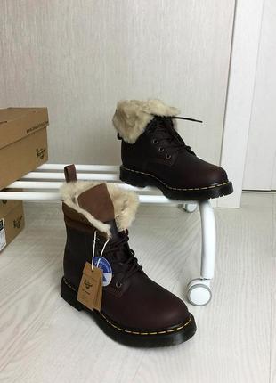Оригинальные зимние ботинки dr. martens 1460 dark brown+mustang kolbert скидка!5 фото