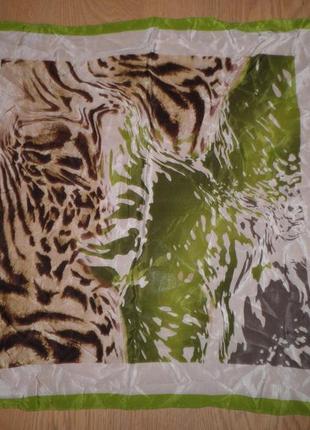 Пёстрый шейный платок гаврош плотный шёлк креп де шин яркий цвет 52х52см шов роуль