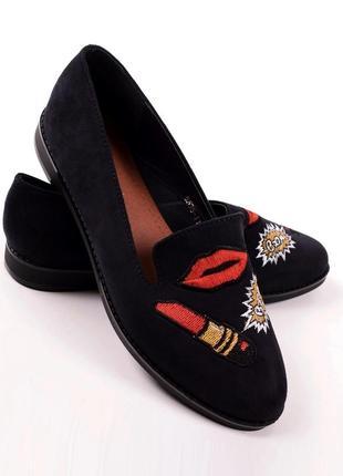 Балетки лодочки мокасины лоферы эко замшевые туфли с нашивками вышивкой 24,5см