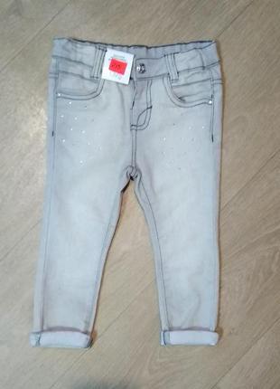 Светло серые джинсы в стразах для девочки ovs