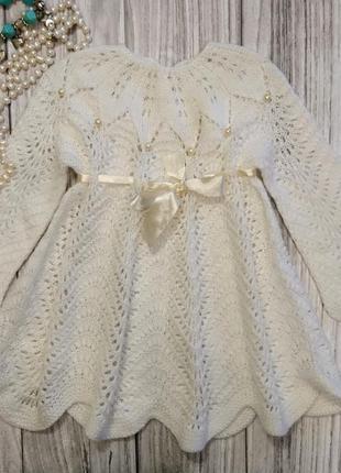 Ручное вязаное платье. кружевное платье для крещения. платье для крещения. ажурное платье.