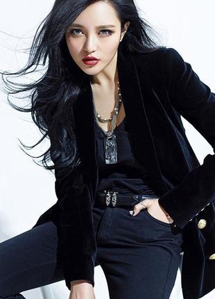 Черный натуральный бархат - велюровый жакет пиджак -100% котон - 52-54 размер