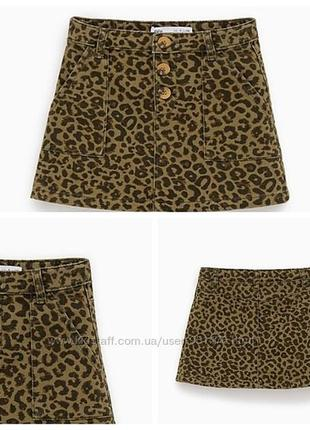 Стильная джинсовая юбка в леопардовый принт zara kids turkey