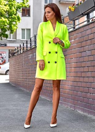 Платье-пиджак желтый