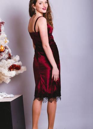 Платье из бархата с кружевом handmade1