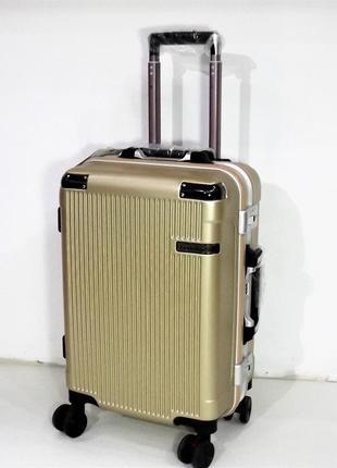 Маленький дорожный чемодан на 4 колеса putaian 2155 бежевый