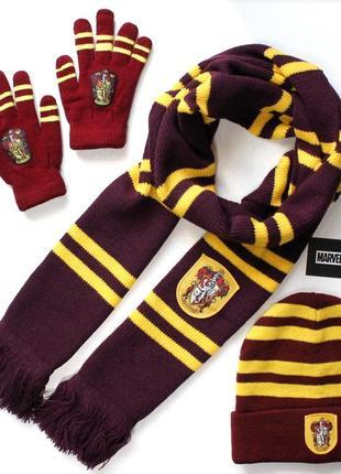Набор шапка шарф перчатки рукавицы гарри поттер гриффиндор harry potter gryffindor
