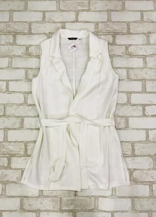Жилет классический белый, жилетка, пиджак миди