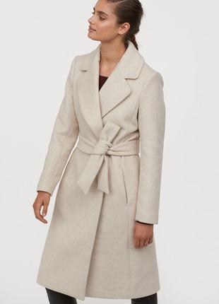 Пальто на запах на кнопках и поясе, шерсть с добавками от h&m, s-m|36