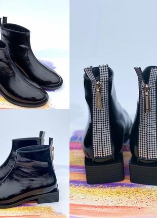 Ботинки, ботильоны чёрные на низком ходу деми / зима натуральный лак