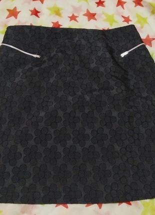 Базовая юбка трапеция в ромашки,замочки
