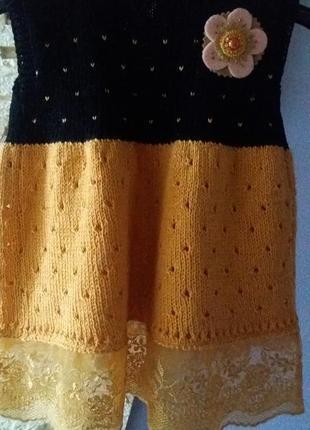 Вязаное деское платье сарафан на 1-2 года