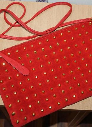 Красивая кожаная/замшевая сумка с украшением topshop