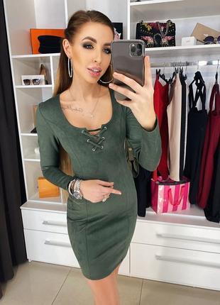 Платье замшевое хаки