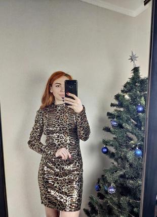 Шикарна сукня в анімалістичний принт topshop з пайєтками/паетки/пайетки
