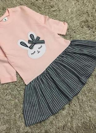 Платье с зайкой для девочки 98-116