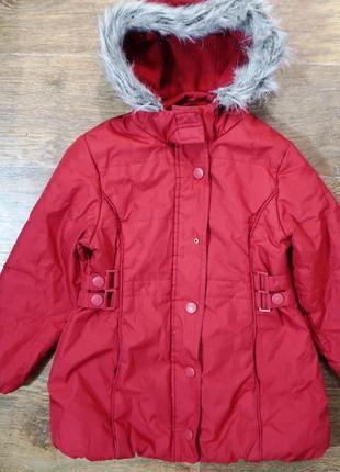 Яркое теплое демисезонное пальто куртка