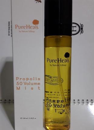 Увлажняющий спрей для питания кожи лица с экстрактом прополиса, pureheals (корея)