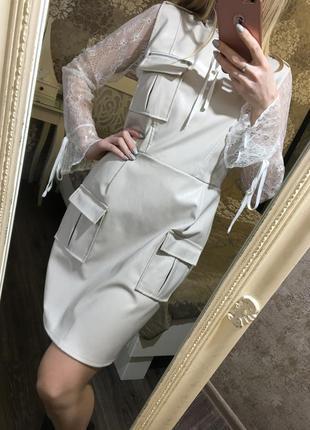 Платье-сарафан из кожзама