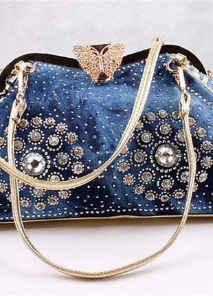 Сумка женская джинсовая со стразами. сумочка из денима (синяя)