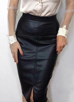 Кожаная базовая юбка миди