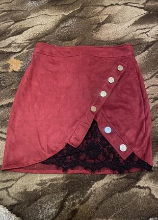 Необычная стильная велюровая юбка с кружевом