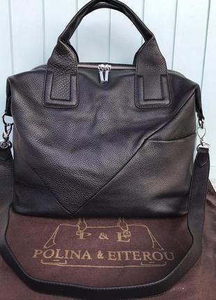 Женская кожаная сумка большая polina & eiterou чёрная жіноча шкіряна сумка чорна