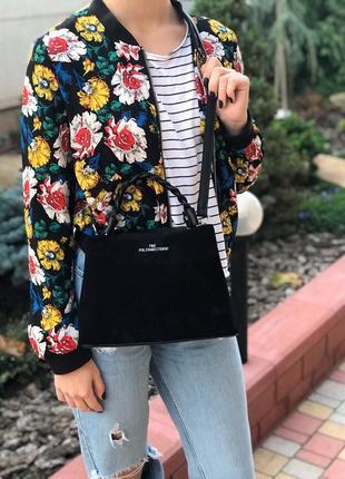Женская замшевая сумка через на плечо polina & eiterou чёрная жіноча замшева чорна