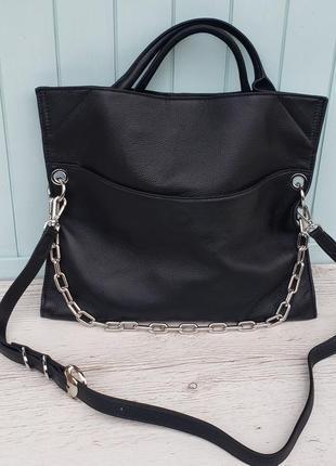 Женская кожаная сумка черная вместительная polina & eiterou через плечо жіноча шкіряна