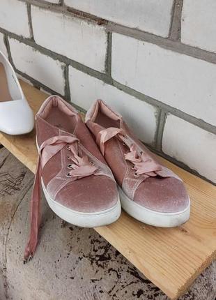 Бархатные велюровые нюдовые кросовки