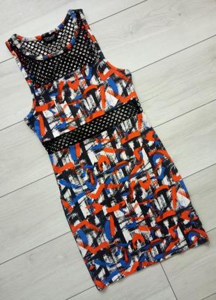 Платье яркий принт сетка трикотаж