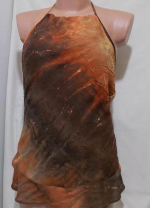 "Блуза шоколадно-оранжевая жатка люкс бренд ""john richmond"" 46р"
