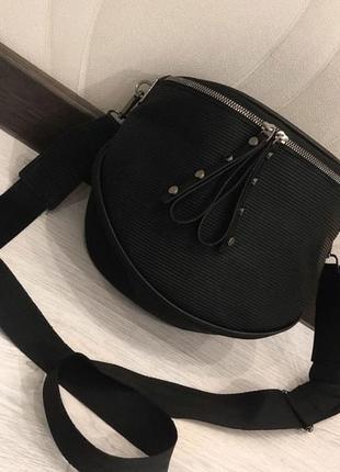 Чёрная бананка сумка на пояс через плечо сумочка повседневная спортивная