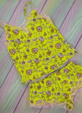 Яркий солнечный цветочный принт пижамки victoria secret