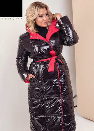 Женское зимнее двухстороннее пальто размеры: 42-58