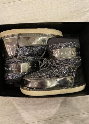 Сапоги луноходы зимние на овчине, ботинки chiara ferragni , 36-37, мунбуты, moon boot