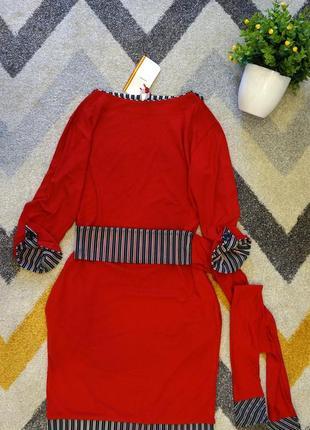 Трикотажное платье красное